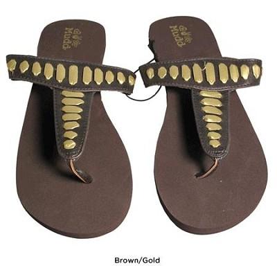 FOM277 Sandals Brown/Gold Size Medium