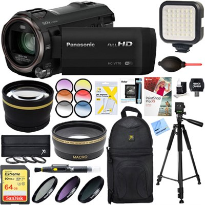 HC-V770K HD Camcorder with 64GB Memory Card & Deluxe Filter Accessory Bundle