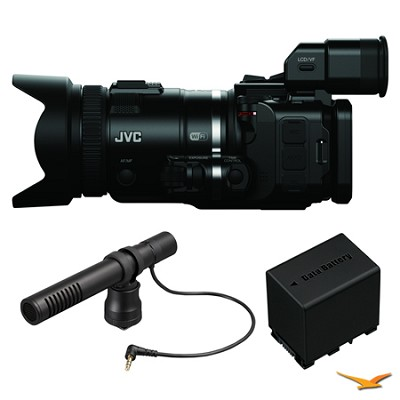 GC-PX100BUS HD Everio Black Camcorder, Microphone, and Battery Bundle