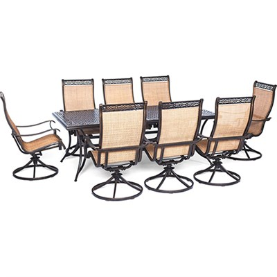 Manor 9-Piece Outdoor Dining Set with Eight Swivel Rockers - MANDN9PCSW-8