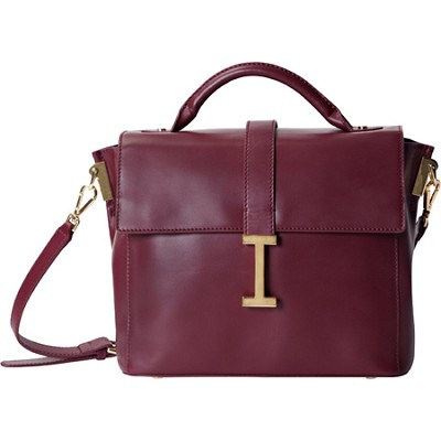 Isaac Mizrahi `LIZ` Genuine Leather Camera Satchel For DSLR cameras - Burgundy