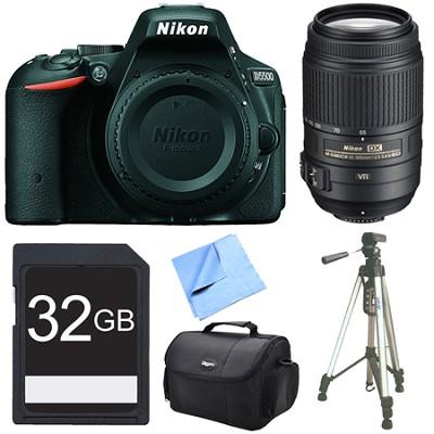 D5500 Black Digital SLR Camera, 55-300 Lens, and 32GB Bundle