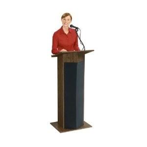 Power Plus Floor Sound Lectern, 22` Width x 46` Height x 17` Depth, Medium Oak