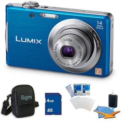Lumix DMC-FH2 14MP Blue Digital Camera w/ 720p 30 fps HD Video 4GB Bundle