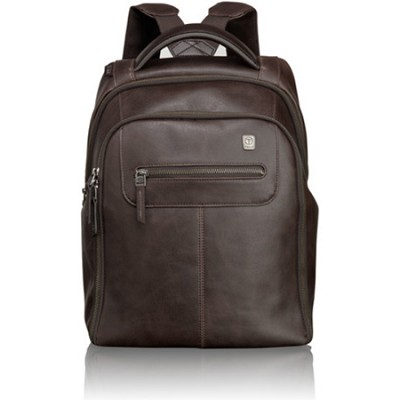 Steel City Slim Leather Backpack 054180B - Brown