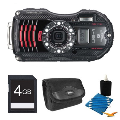 WG-4 GPS 16MP HD 1080p Waterproof Digital Camera Black 4GB Kit