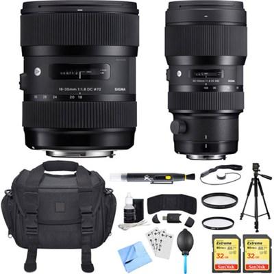 AF 18-35mm f/1.8 DC HSM + 50-100mm f/1.8 DC HSM Lens for Nikon Ultimate Bundle