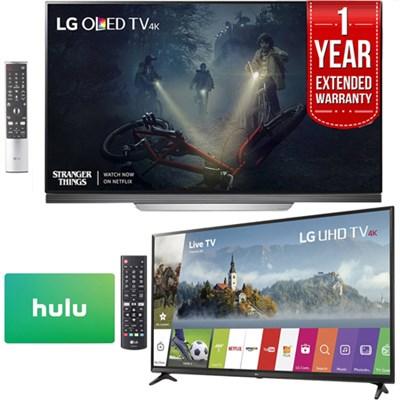 OLED65E7P 65 E7 OLED 4K TV + 55UJ6300 55 4K Smart TV 1 Year Hulu + Warranty