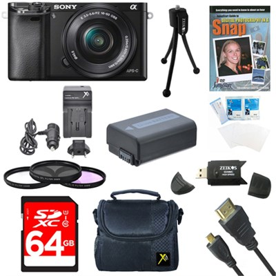 Alpha a6000 24.3MP Camera with 16-50 Power Zoom Lens- 64GB Kit