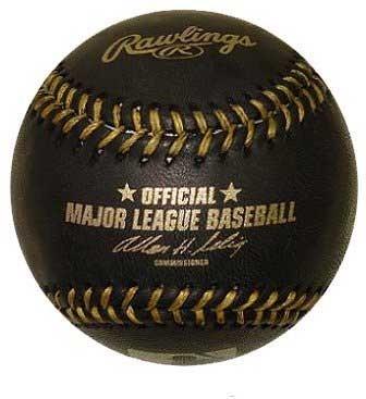 Official Major League Memorabilia Black Baseball with Gold Stitch