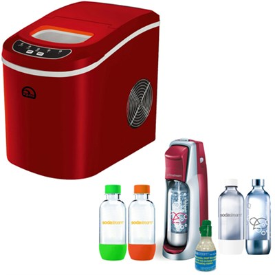 Compact Ice Maker (Red) w/ Exclusive SodaStream Jet Soda Maker Bundle