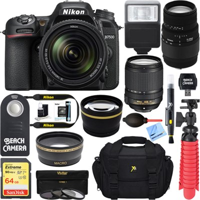 D7500 20.9MP Digital SLR Camera + 18-140mm VR & 70-300mm Macro Lens Bundle