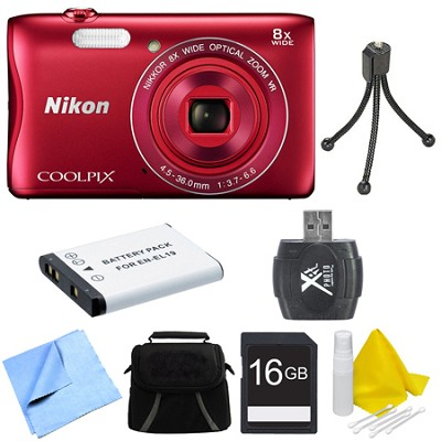 COOLPIX S3700 20.1MP 720p HD Video Digital Camera - Red Deluxe Bundle