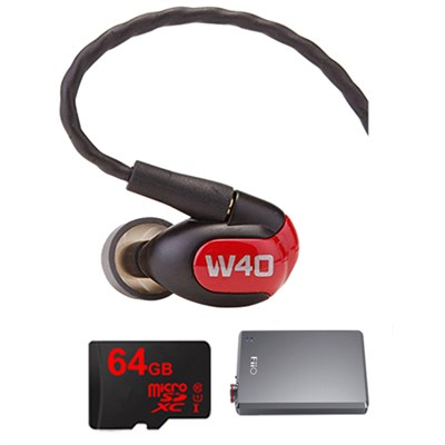 W40 Quad Driver Premium In-Ear Monitor Headphones - 78504 w/ FiiO A5 Amp Bundle