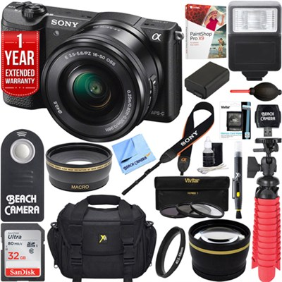 Alpha a5100 Mirrorless Digital Camera 16-50mm Lens Black + 32GB Accessory Bundle