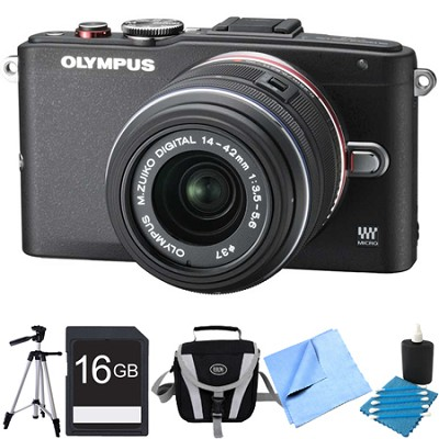 E-PL6 Mirrorless 16MP Digital Camera with 14-42mm II Lens (Black) Bundle