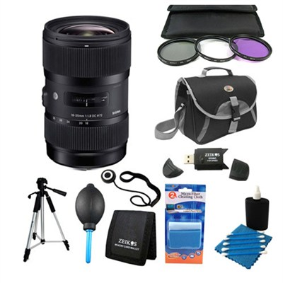 AF 18-35MM F/1.8 DC HSM Lens Kit for Nikon w/ Tripod, Bag, Filter Kit and Accy's