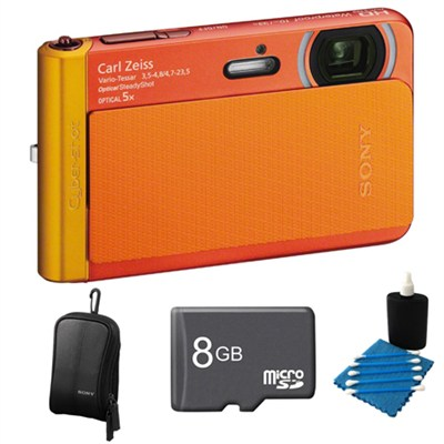 DSC-TX30/B Orange Digital Camera 8GB Bundle
