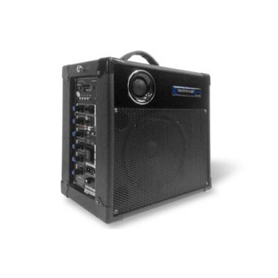WASP400 6.5` Battery Powered PA System with Wireless VHF Microphone Black
