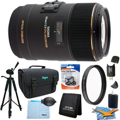 105mm F2.8 EX DG OS HSM Macro Lens for Nikon DSLR (258-205) Lens Kit Bundle
