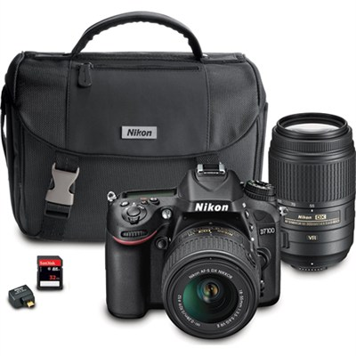D7100 DX-format Black Digital SLR Camera 18-55mm + 55-300mm Dual VR Lens Bundle