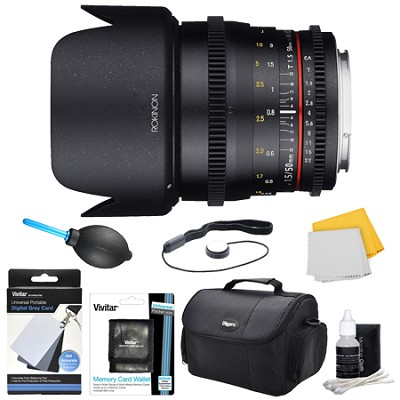 DS 50mm T1.5 Full Frame Wide Angle Cine Lens for Sony A Mount Accessory Bundle