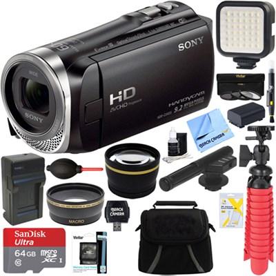 HDR-CX455/B Full HD Handycam Camcorder + Mini Zoom Microphone & Accessory Bundle
