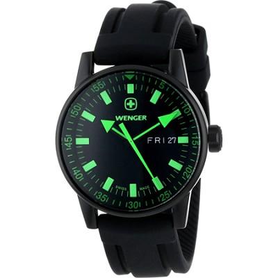 Men's PVD Commando Day Date XL Watch - Black Dial/Black Silicone Strap