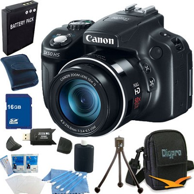 PowerShot SX50 HS 50x Zoom 12.1 MP Digital Camera 16GB Bundle