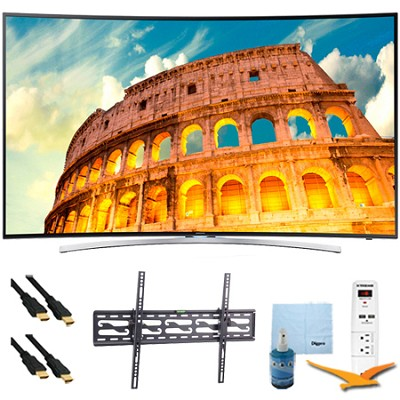 55` Curved LED 3D Smart HDTV 1080p 240Hz Tilt Mount & Hook-Up Bundle - UN55H8000