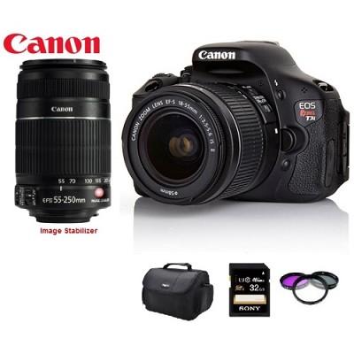 EOS Digital Rebel T3i 18MP SLR Camera 18-55mm IS  & 55-250mm IS Pro Bundle Deal