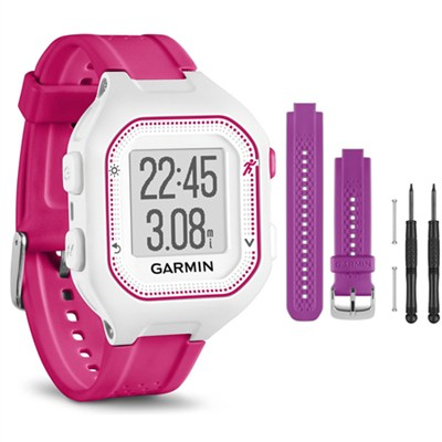 Forerunner 25 GPS Fitness Watch - Small - White/Pink - Purple Band Bundle