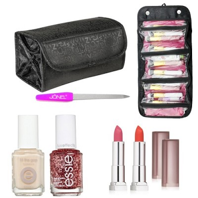 2 Lipstick, 2 Nail Polish, 1 Nail File, & Travel Roll-up Cosmetic Bag