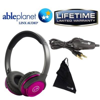 SH190 Travelers Choice Stereo Headphones w/ LINX AUDIO & Inline Volume - Pink
