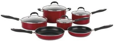 Advantage Non-Stick 10 Piece Cookware Set, Red
