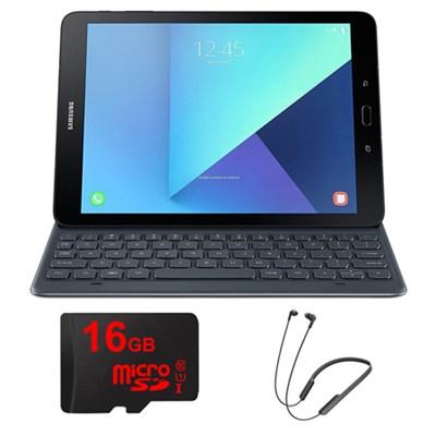 Galaxy Tab S3 9.7` Tablet Keyboad Cover - Grey w/ Sony Wireless Headphone Bundle