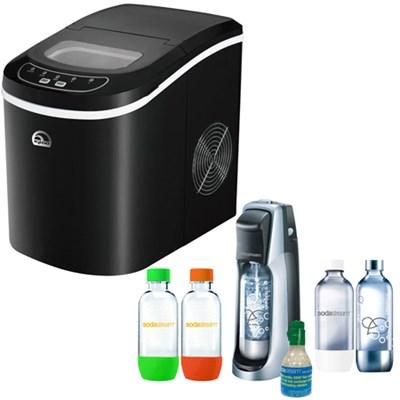 Compact Ice Maker Black w/ Exclusive SodaStream Fountain Jet Soda Maker Bundle