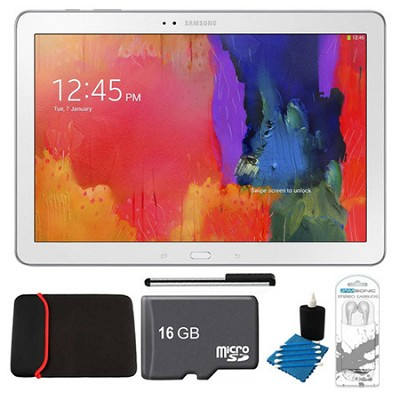 Galaxy Note Pro 12.2` White 32GB Tablet, 16GB Card, Headphones, and Case Bundle
