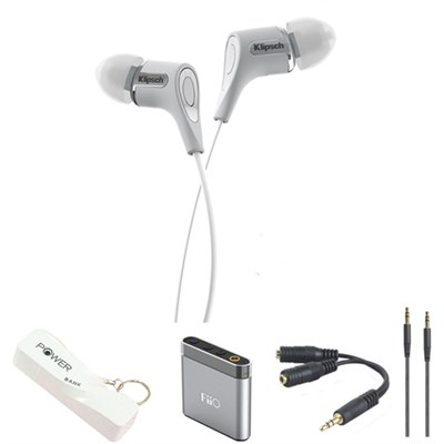 R6 In-Ear Headphone (White) with Headphone Bundle