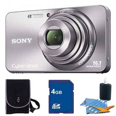 Cyber-shot DSC-W570 Silver Digital Camera 4GB Bundle