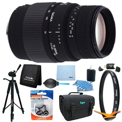 70-300mm f/4-5.6 DG Macro Telephoto Zoom Lens for Canon DSLRs Lens Kit Bundle