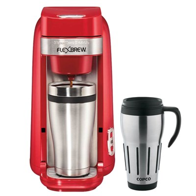 Single-Serve Coffee Maker, FlexBrew Red - 49960 w/ Copco Thermal Travel Mug