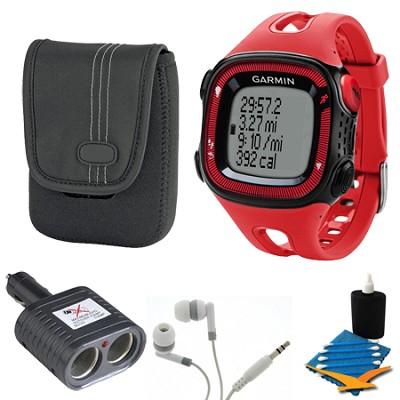 Forerunner 15 Heart Rate Monitor Bundle Large - Red/Black Bundle