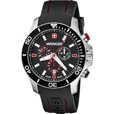 Men's Sea Force Chrono Watch - Black and Red Dial/Black Silicone Strap