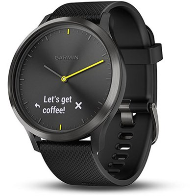 Vivomove HR Sport Hybrid Smartwatch, Black with Black Silicone Band (Large)