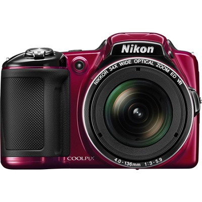 COOLPIX L830 16MP Digital Camera with 34x Optical Zoom (Red) Refurbished