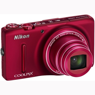 COOLPIX S9500 18.1 MP 22x Zoom Built-In Wi-Fi Digital Camera - Red