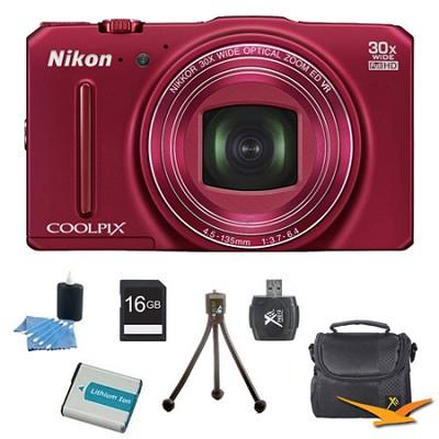 COOLPIX S9700 16MP HD 1080p 30x Opt Zoom Digital Camera Red Kit