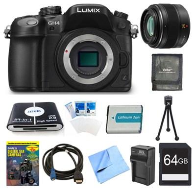 LUMIX DMC-GH4K DSLM Digital Camera Body 64GB and 25mm Lens Bundle