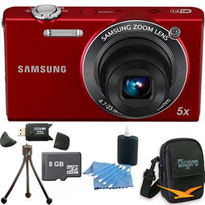 SH100 Red Digital Camera 8 GB Bundle